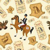Horse Racing Seamless Pattern. Horseback Riding. Activity Jockey Club. Equipments For Equestrian Spo poster
