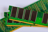 Memory Ram Modules Chips For Computer Over White Background poster