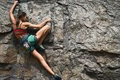 Sports Woman With Slim Fit Body Climbing The Rock Having Workout In Mountains. Rock Climbing Hard Mo poster