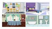 Modern Home Interior Vector Illustration Set. Kitchen With Dining Table, Bedroom In City Flat, Tradi poster