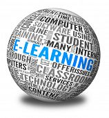 Elearning concept in word tag cloud on 3d sphere
