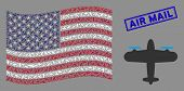 Aircraft Symbols Are Grouped Into Usa Flag Collage With Blue Rectangle Rubber Stamp Watermark Of Air poster