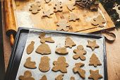 Making Christmas Gingerbread Cookies. Raw Dough In Shape Of Gingerbread Man,christmas Tree, Star, De poster
