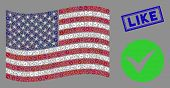 Apply Symbols Are Combined Into United States Flag Stylization With Blue Rectangle Grunge Stamp Wate poster