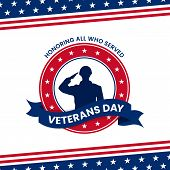Happy Veterans Day Honoring All Who Served Retro Vintage Logo Badge Celebration Poster Background Ve poster