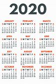 2020 Year Calendar Concept Banner. Flat Illustration Of 2020 Year Calendar Vector Concept Banner For poster