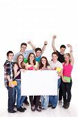 Постер, плакат: Счастливые молодые люди с белой доски