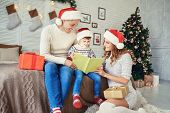 Family Reading A Bookin A House With A Christmas Tree. poster