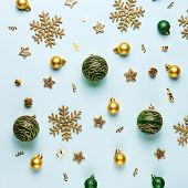 Christmas Holiday Composition. Festive Creative Gold Pattern, Xmas Gold And Green Decor Holiday Ball poster