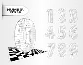 Realistic Three Dimensional Set Of Numbers. Hand Drawn Isometric Numbers Vector Set. 3d Black And Wh poster