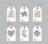 Set Of Hand Drawn Doodle Scandinavian Christmas Element Tags With Place For Text. Collection Holiday poster