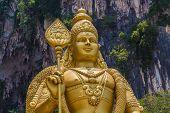Batu Caves Kuala Lumpur Selangor, Malaysia. March 18 2019. A View Of The Gold Statue Of Murugan, A H poster