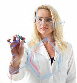 Beauty Blond Woman Writing Chemical Formula On Glass