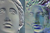 Contemporary Art Concept Collage With Antique Statue Head In A Surreal Style. Modern Unusual Art. Gl poster