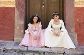 stock photo of quinceanera  - Hispanic girls wearing Quinceanera dresses - JPG