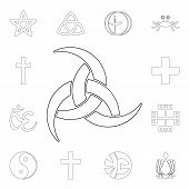Religion Symbol, Odin Outline Icon. Element Of Religion Symbol Illustration. Signs And Symbols Icon  poster