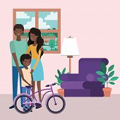 Cute Afro Family Members In The Livingroom Characters Vector Illustration Design poster
