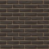 Brick Wall Texture Seamless. Vector Illustration Stones Wall In Black Color. Seamless Pattern. Dark  poster