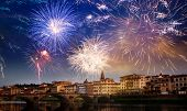 fireworks over Florence New Year destination poster