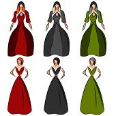The Design Of Dresses On Models. Stylized Image Of Girls In Evening Dresses. Cocktail Dress. Vector  poster