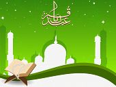 stock photo of quran sharif  - Arabic Islamic calligraphy of Eid Mubarak text with Mosque or Masjid and Quran Sharif on modern abstract green background - JPG