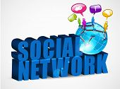 3D social networking background with text, mini globe and people connected with network, isolated on