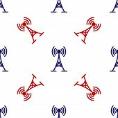 Blue And Red Antenna Icon Isolated Seamless Pattern On White Background. Radio Antenna Wireless. Tec poster