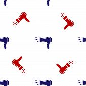 Blue And Red Hair Dryer Icon Isolated Seamless Pattern On White Background. Hairdryer Sign. Hair Dry poster