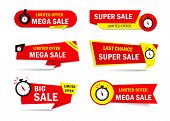 Limited Offer Sale Tags With Clock, Time. Special Discount Price Badge For Promotion, Retail, Shop.  poster