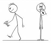 Cartoon Stick Figure Drawing Conceptual Illustration Of Man With Padlock On His Mouth, Another Man I poster