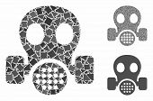 Gas Mask Mosaic Of Joggly Parts In Different Sizes And Color Tinges, Based On Gas Mask Icon. Vector  poster