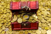 Vintage Treasure Chest Full Of Gold Coins On A Background Of Golden Coins poster