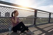 Sunset Exercise With Beautiful, Sport Woman. Woman Fitness Jogging, Workout Wellness Concept. Female poster