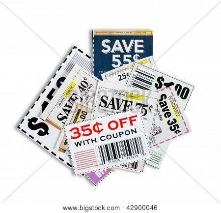 Coupons Close Up XXXL Isolated