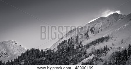 mountains in tyrol with dusting snow