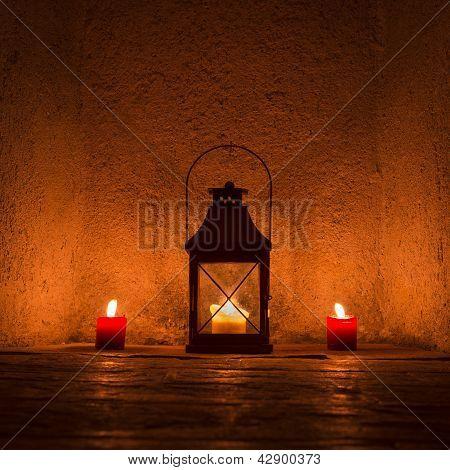 vintage candlelit in metal lantern