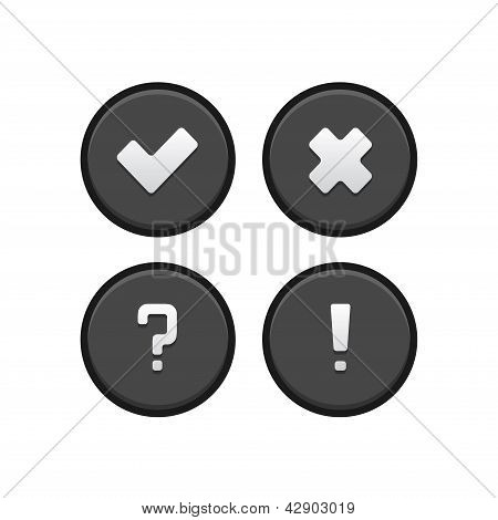 Tick, cross, query and exclamation mark buttons