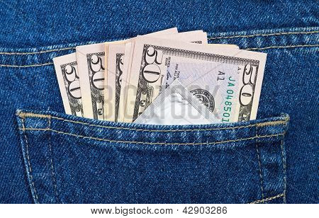 U.s. Dollars And Condom In The Back Jeans Pocket