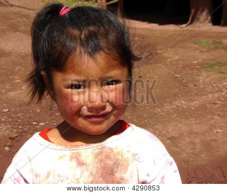 Peruvian Child At Womans Weaving Project