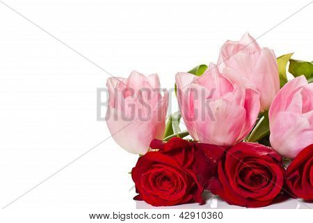 Bouquet Of Roses And Tulips