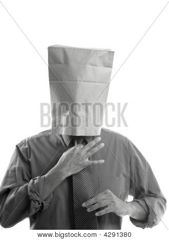 Businessman With Paper Bag In Head