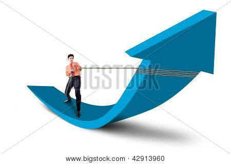 Businessman Control Arrow With Chain