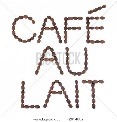 Cafe au lait coffee sign in word and letter form over white background.