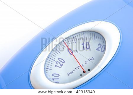 Weight Scale Close Up On White