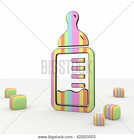 Childish comic style baby food 3d icon