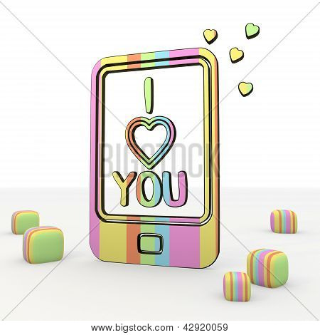 Nice happy I love you 3d icon in smartphone