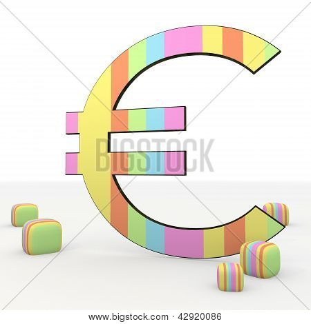 colourful coltish playful  Euro 3d icon