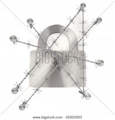arame farpado preso e trancado sinal seguro