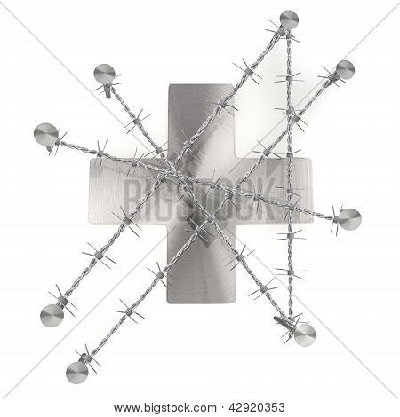 Chained and nailed caged cross symbol illustration
