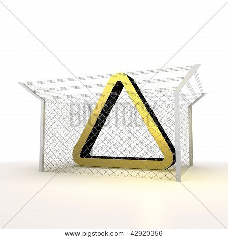 isolated metallic caged triangle 3d icon